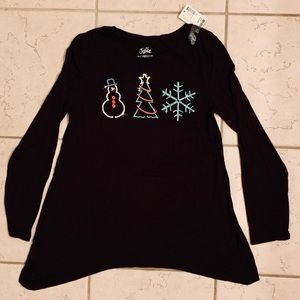 NWT JUSTICE Christmas Long-Sleeve Tunic (Size 10)